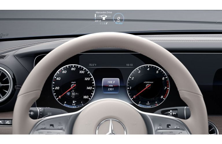 2020 Mercedes-Benz CLS Interior close up on steering wheel gauges and head up display
