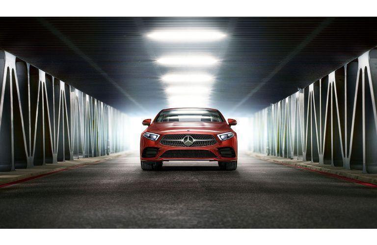 2020 Mercedes-Benz CLS exterior red distant head on shot