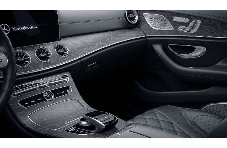2020 Mercedes-Benz CLS interior angled view of dashboard console and passenger seat