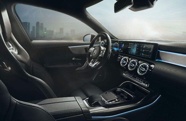 A photo of the front seats in the 2021 Mercedes-AMG® A 35 Sedan.