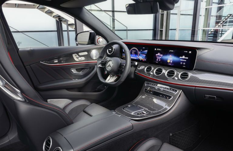 A photo of the driver's cockpit in the 2021 Mercedes-AMG® E 53 Sedan.