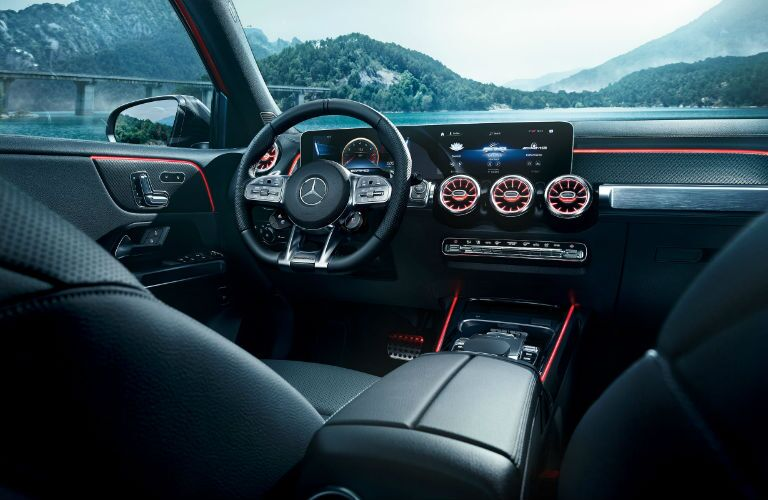 A photo of the driver's cockpit in the 2021 Mercedes-AMG® GLB 35.