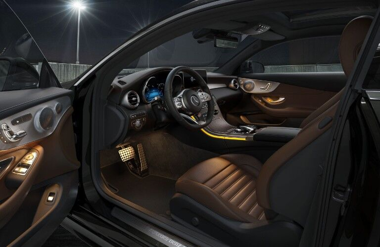 The front seats in the 2021 Mercedes-Benz C 300 Coupe.