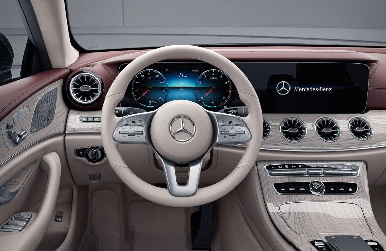 The driver's cockpit in the 2021 Mercedes-Benz CLS 450 Coupe.