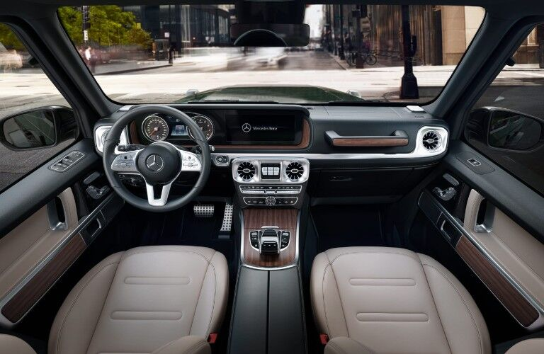 A overhead photo of the forward cabin in the 2021 Mercedes-Benz G 550.