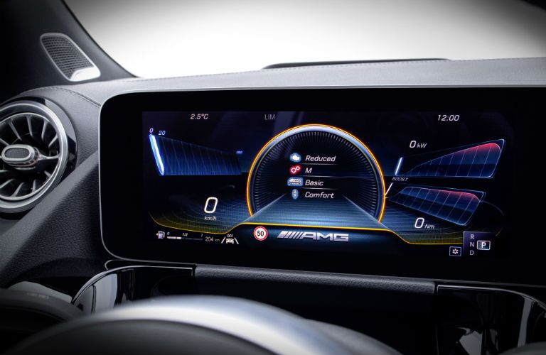 A photo of the digital gauge cluster installed in the 2021 Mercedes-Benz GLA 250 4Matic®/