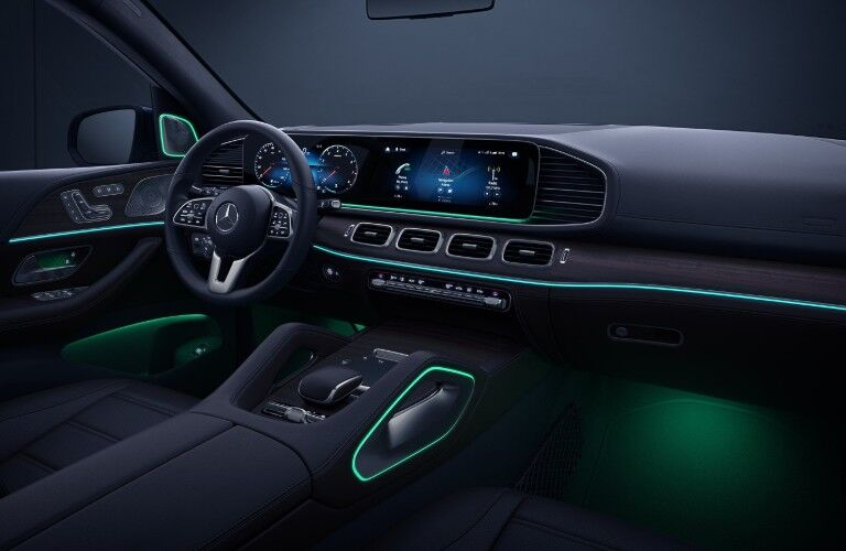 A photo of the dashboard and driver's cockpit in the 2021 Mercedes-Benz GLE SUV.