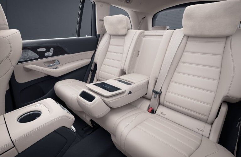 A photo of the rear seats in the 2021 Mercedes-Benz GLS 580 SUV.