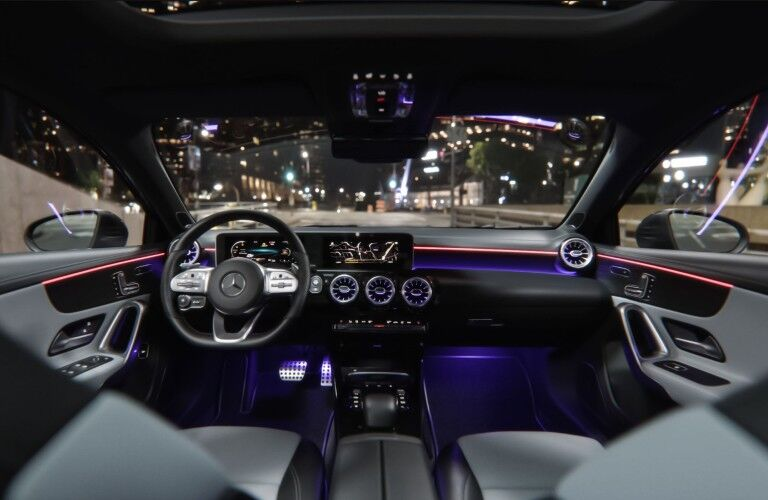 A photo of the dashboard and driver's cockpit in the 2021 Mercedes-Benz A 220.