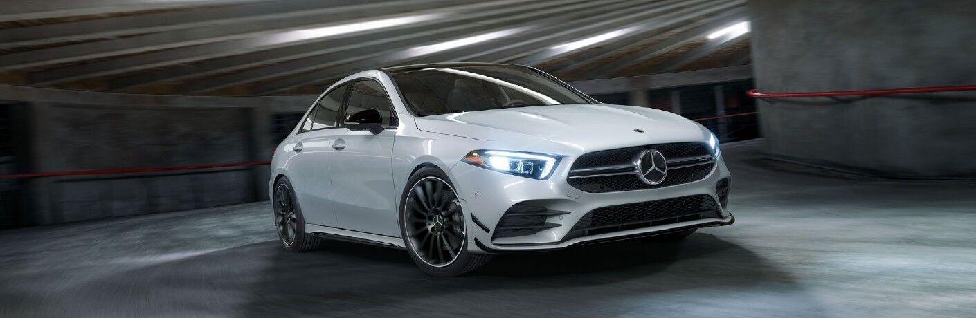 A head-on photo of the 2021 Mercedes-AMG® A 35 Sedan.