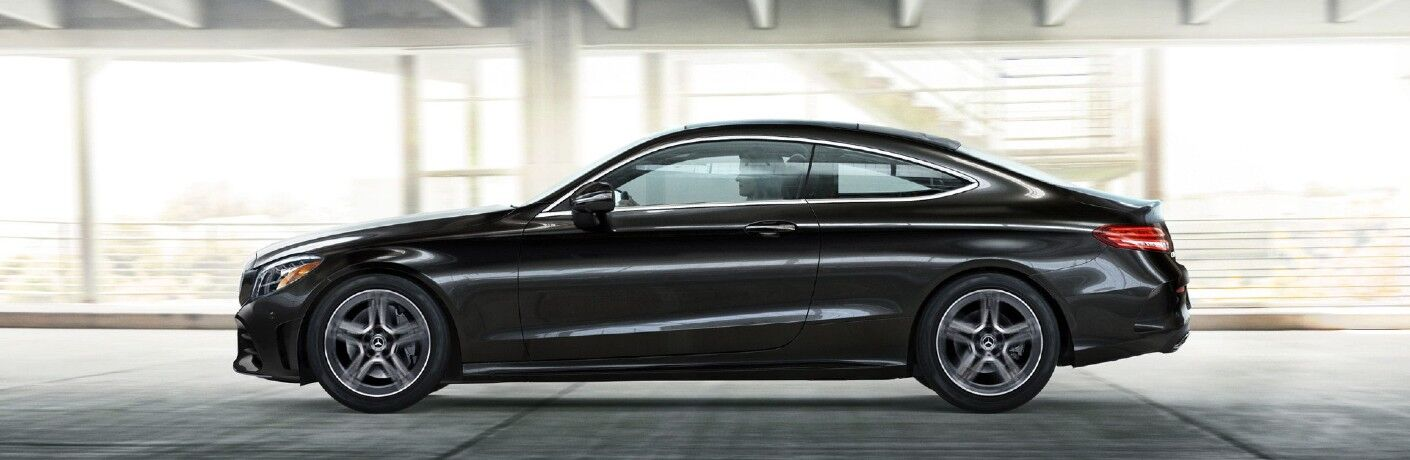 A left profile view of the 2021 Mercedes-Benz C 300 Coupe.