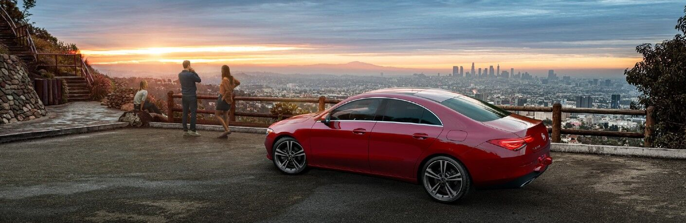 A left profile photo of the 2021 Mercedes-Benz CLA Coupe.