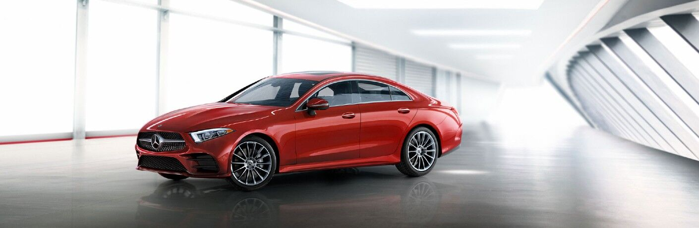 A front left quarter view of the 2021 Mercedes-Benz of CLS 450 Coupe.