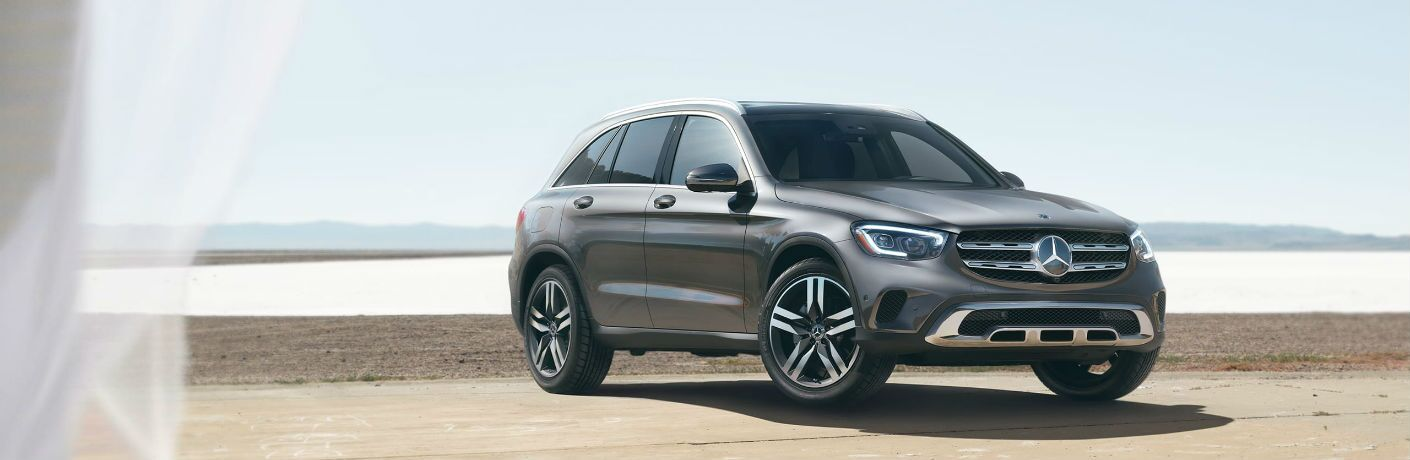 A front right quarter photo of the 2021 Mercedes-Benz GLC 300 SUV in Indianapolis, IN.