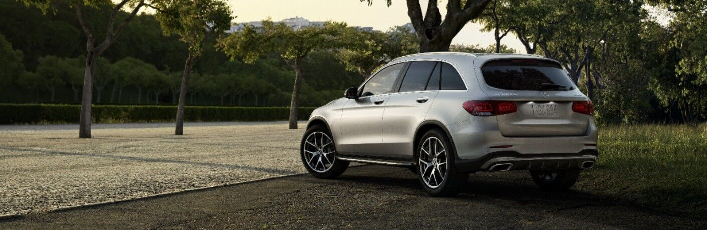 A rear left quarter photo of the 2021 Mercedes-Benz GLC SUV.