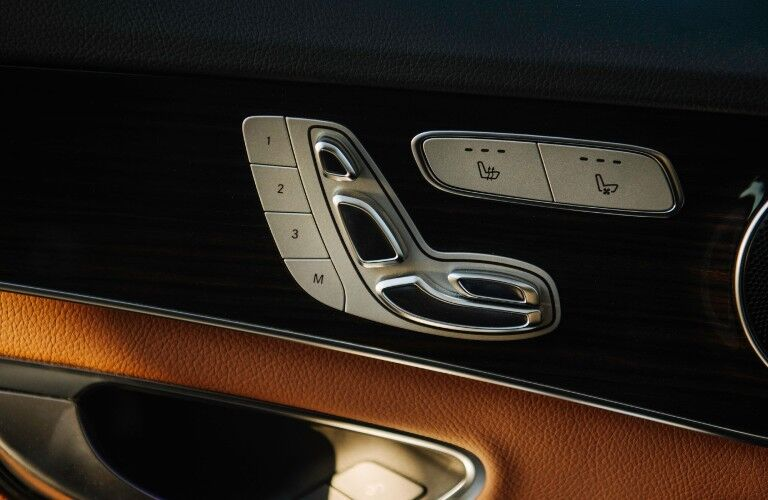 A photo of the seat controls in the 2021 Mercedes-Benz C 300 4MATIC®.