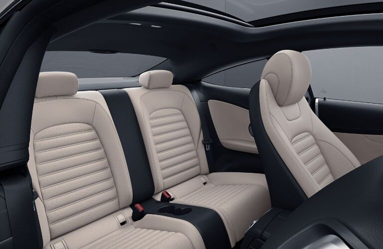 The rear seat in the 2021 Mercedes-Benz C 300 Coupe.