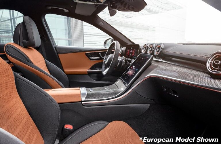 A photo of the front seats in the 2022 Mercedes-Benz C-Class Sedan.