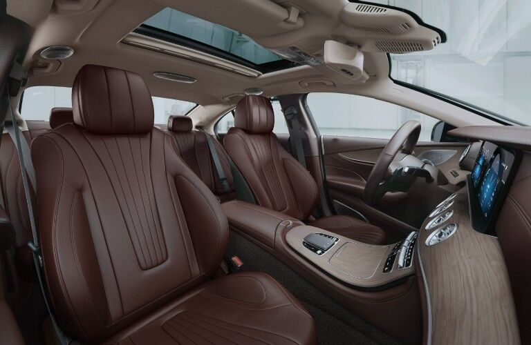 The front seats in the 2021 Mercedes-Benz CLS 450 Coupe.
