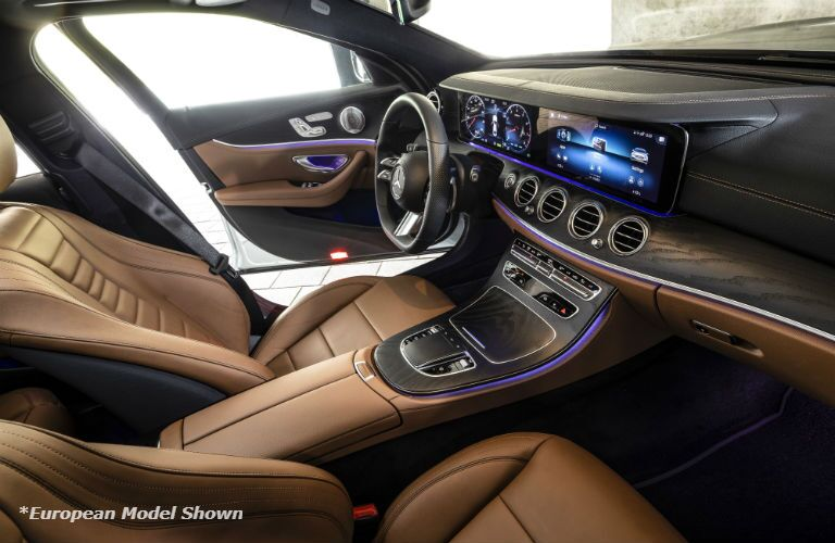 A photo of the front seats in the 2021 Mercedes-Benz E 350 Sedan.