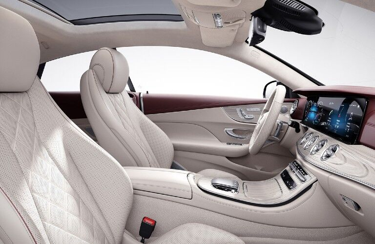 A photo of the front seats in the 2021 Mercedes-Benz E-Class Coupe.