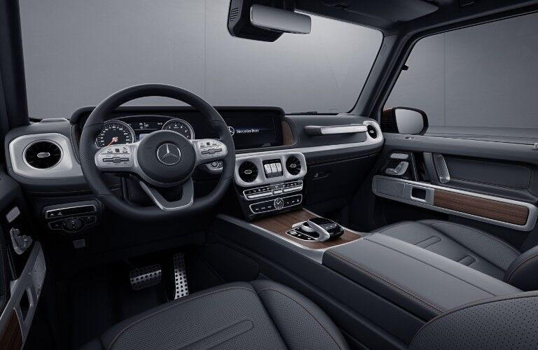 A photo of the dashboard and driver's cockpit in the 2021 Mercedes-Benz G 550.