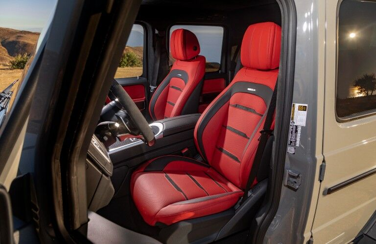 A photo of the front seats in the 2021 Mercedes-AMG® G 63.