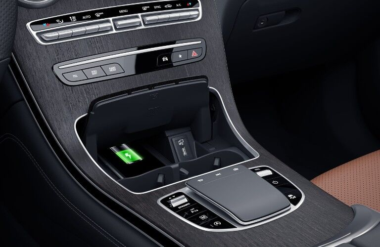 A photo of the lower console in the 2021 Mercedes-Benz GLC 300 4MATIC®.
