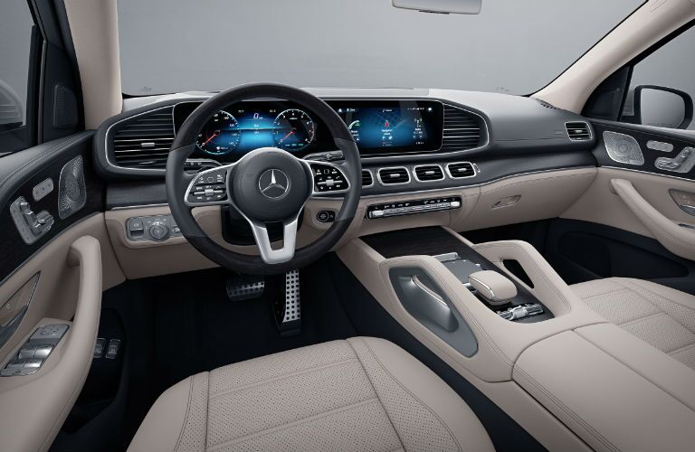 A photo of the dashboard and driver's cockpit in the 2021 Mercedes-Benz GLS 450 4MATIC®.