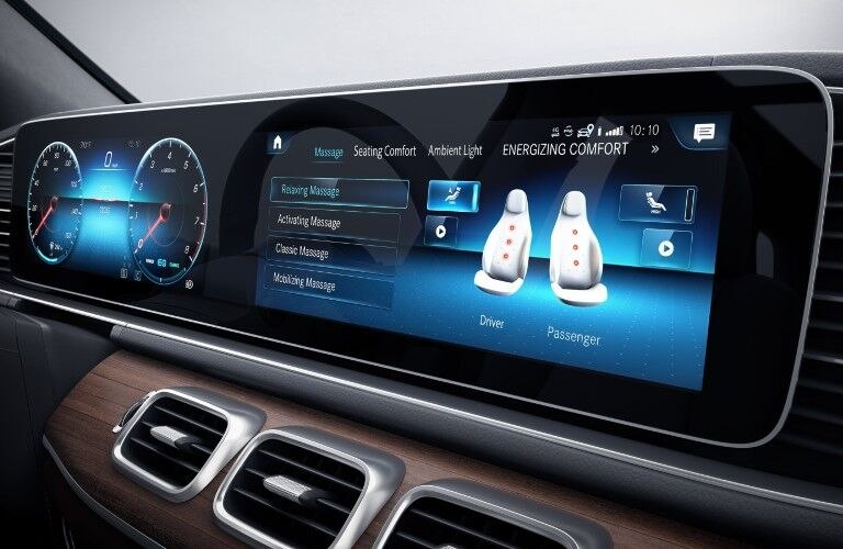 A photo of the digital screens used in the 2021 Mercedes-Benz GLS 580 SUV.