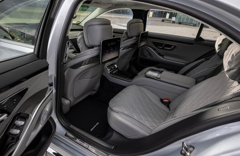 A photo of the rear seats in the 2021 Mercedes-Benz S 500 4MATIC® Sedan.