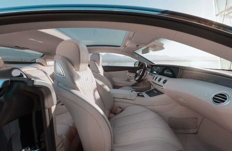 The front and back seats in the 2021 Mercedes-Benz S 560 Coupe 4MATIC®.
