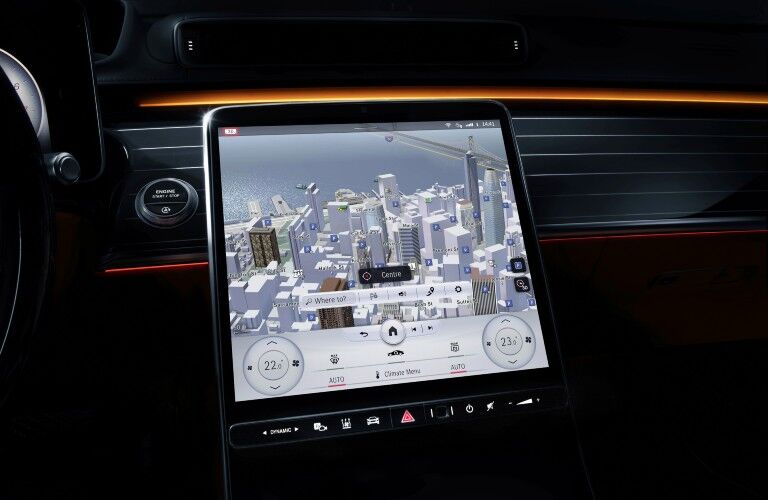 A photo of the touchscreen used in the 2021 Mercedes-Benz S 580 4MATIC® Sedan.