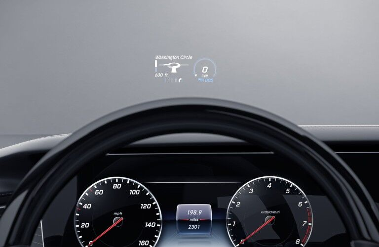 A look at the available heads up display in the 2021 Mercedes-Benz S-Class Cabriolet.