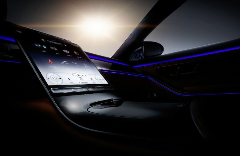 A photo of the touchscreen interface used by the 2021 Mercedes-Benz S-Class.