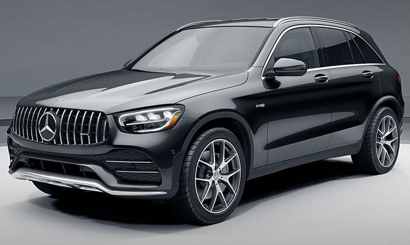A front left quarter photo of the 2021 Mercedes-AMG® GLC 43 SUV.