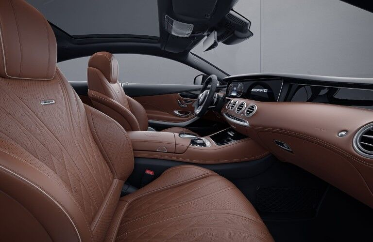 A photo of the front seats in the 2021 Mercedes-AMG® S 63 Coupe.