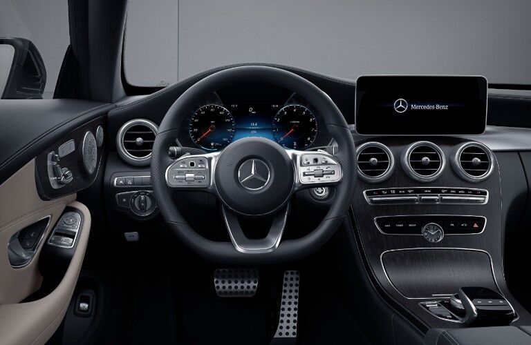 The driver's cockpit in the 2021 Mercedes-Benz C 300 Coupe.