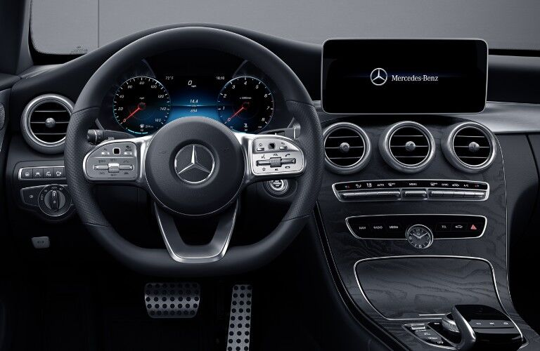 The two digital screen used by the 2021 Mercedes-Benz C-Class Cabriolet.