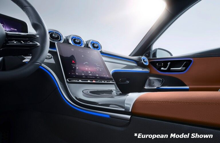 A photo of the MBUX touchscreen in the 2022 Mercedes-Benz C-Class.