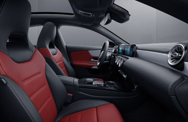 The front seats of the 2021 CLA 250 Coupe showing an available upholstery option.