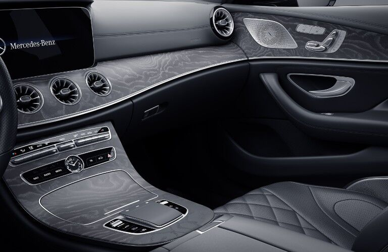 The passenger side footwell in the 2021 Mercedes-Benz CLS 450 Coupe.