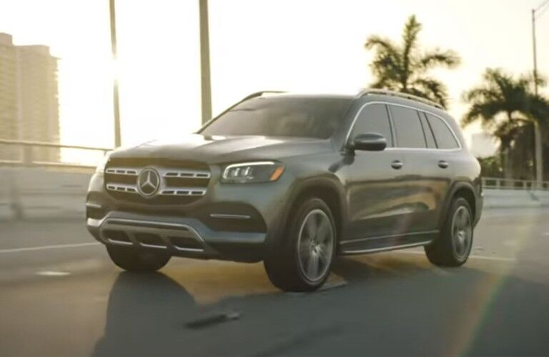 A photo of the 2021 Mercedes-Benz GLS 580 SUV on the road.