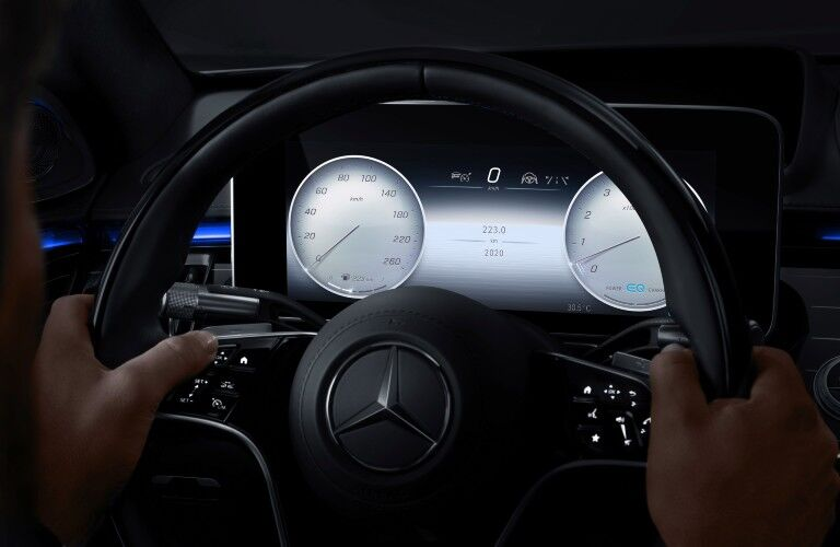A photo of the digital gauge cluster in the 2021 Mercedes-Benz S 580 4MATIC® Sedan.