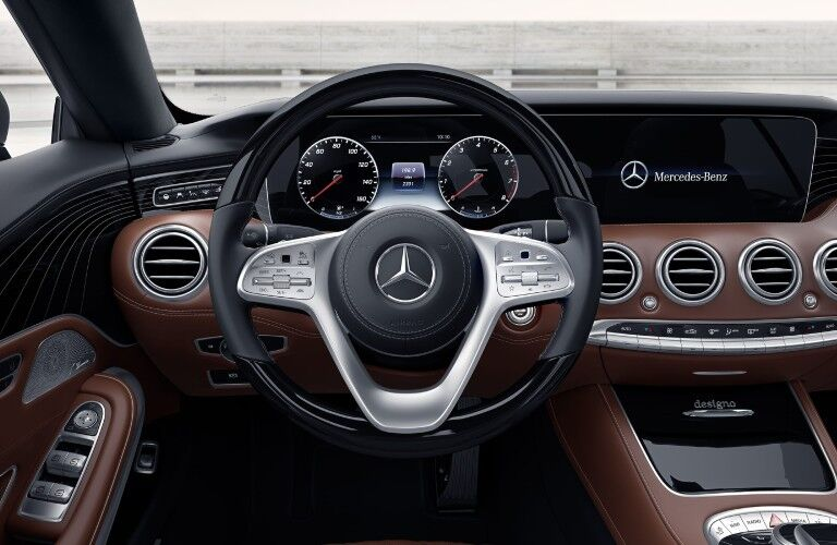 Take a look at the steering wheel and gauge cluster in the 2021 Mercedes-Benz S-Class Cabriolet.