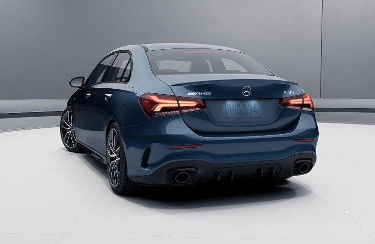 A rear photo of the 2021 Mercedes-AMG® A 35 Sedan.