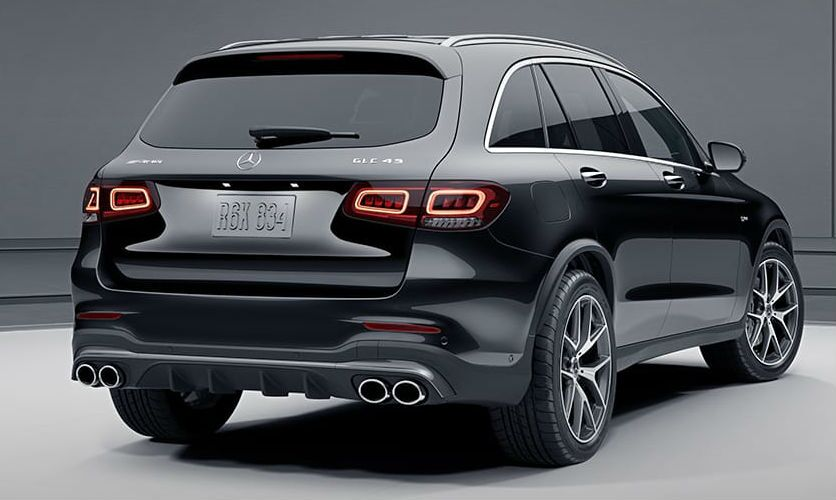 A rear right quarter photo of the 2021 Mercedes-AMG® GLC 43 SUV.