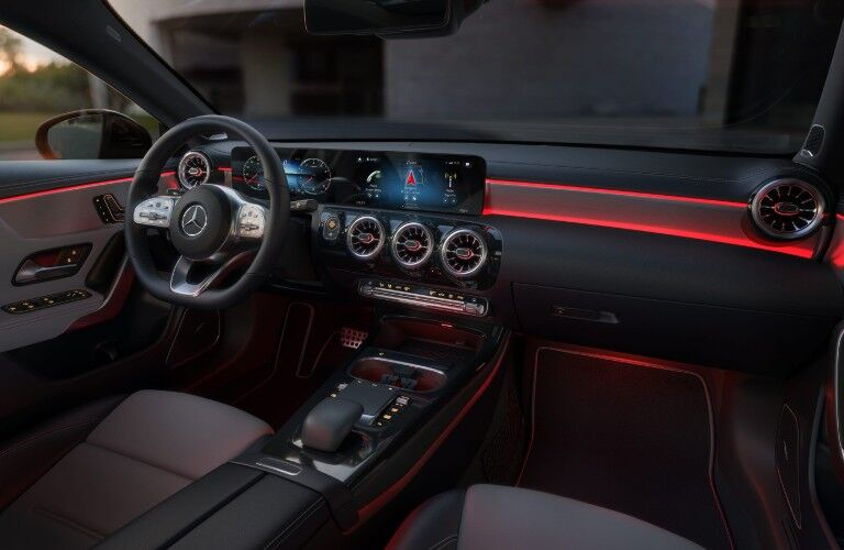 A photo of the driver's cockpit and dashboard in the 2021 Mercedes-Benz CLA Coupe.