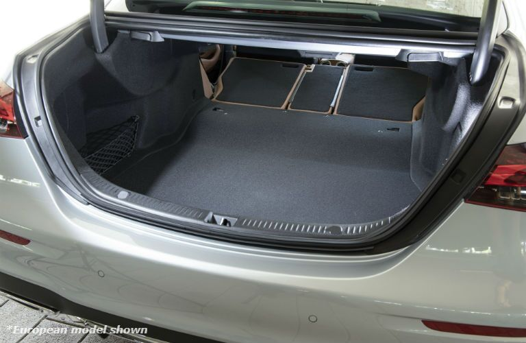 A photo of the trunk space available in the 2021 Mercedes-Benz 3 350 4MATIC® in Indianapolis, IN.