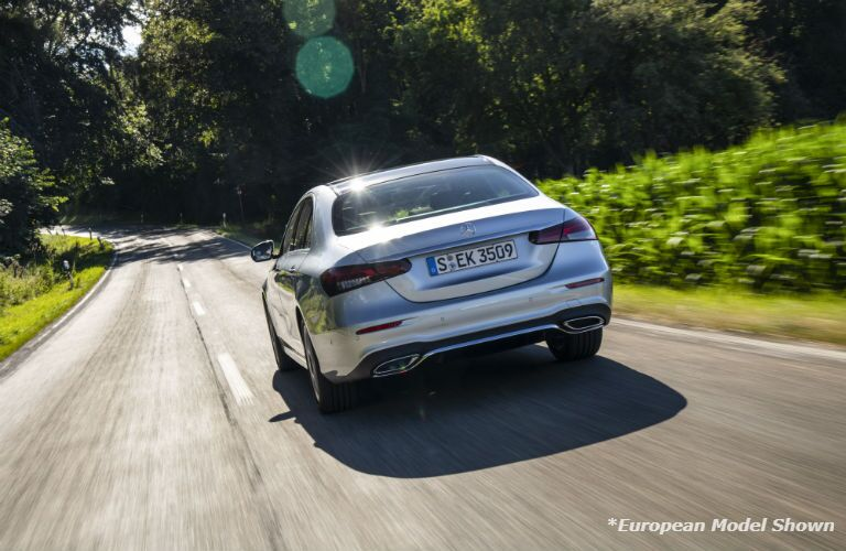 A rear photo of the 2021 Mercedes-Benz E 350 on the road.